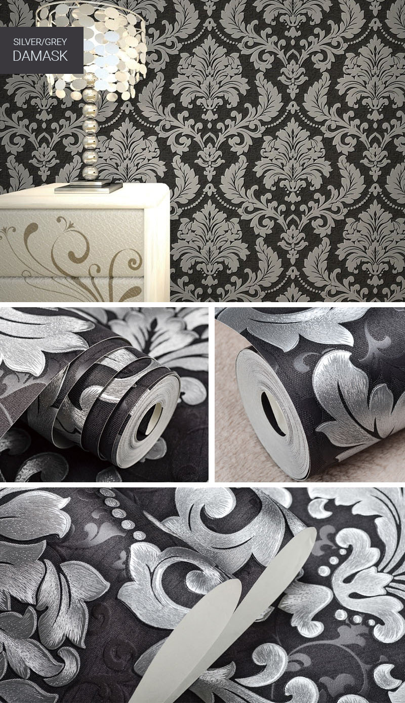 Silver Grey Metallic Damask Wallpaper Embossed Vinyl Wall Coverings Retro Vintage Wall Paper For Boutique Salon Decoration Living Room Luxury Home Decor