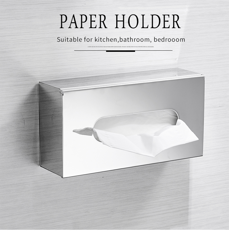 Silver Stainless Steel Tissue Holder Serviette Box Shiny Contemporary Bathroom Towel Dispenser Box For Modern Home Office Interior Decor