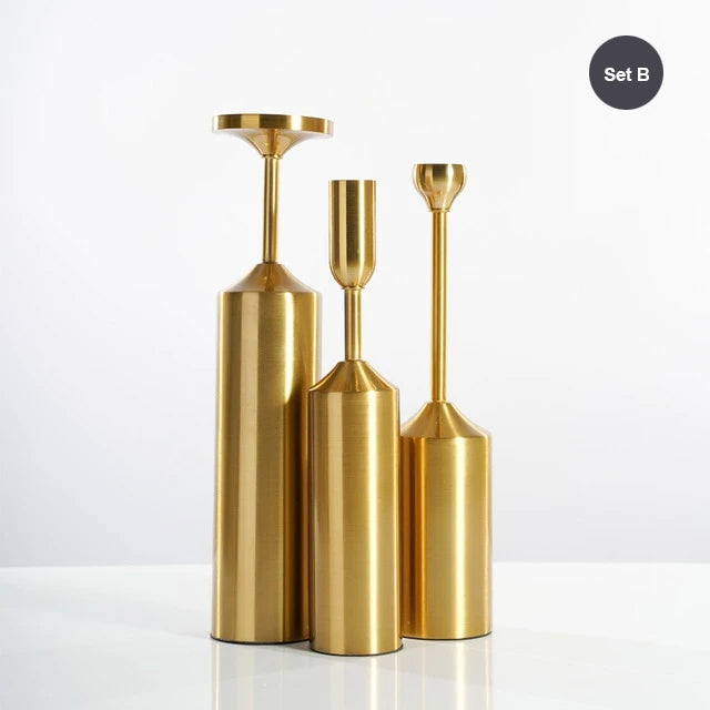 Simple Elegant Gold Plated Candle Holders Stylish Matching Metal Candlesticks For Christmas Dining Room Table Living Room Stylish Candle Sticks For Festive Occasions