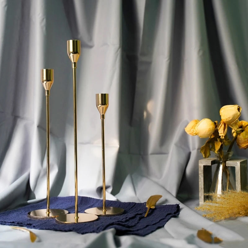 Simple Gold Metal Candle Holders Slim Tall Elegant Candlesticks For Wedding Christmas Festive Occasions Candle Stands For Dinner Table Dining Room Essential Home Decor