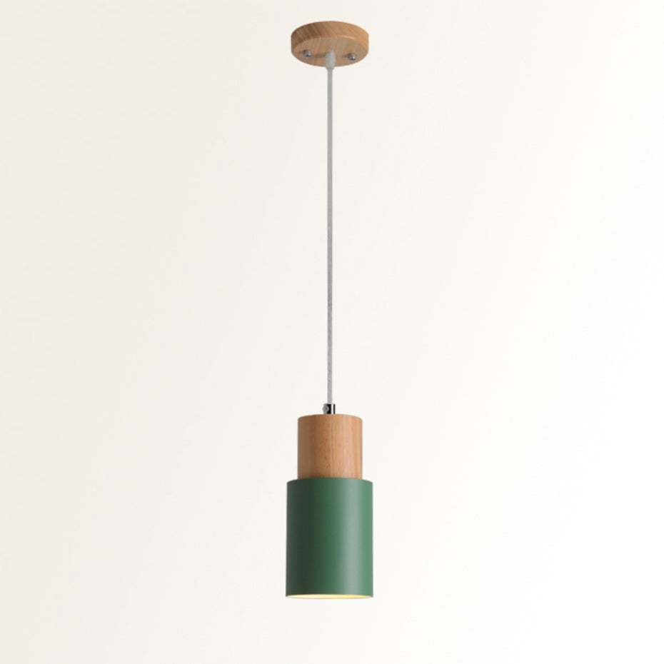 Simple Nordic Wood & Aluminum Pendant Lamps For Kitchen Bar Restaurant Diner Hanging Lights Minimalist Style Pastel Colored Light Fittings For Home/Office
