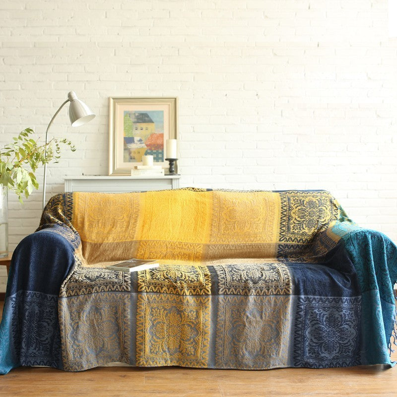 Soft Chenille Sofa Throw Ethnic Plaid Blanket Woven Jacquard Weighted Knitted Vintage Style Sofa Throw Tapestry Bedspread Blanket