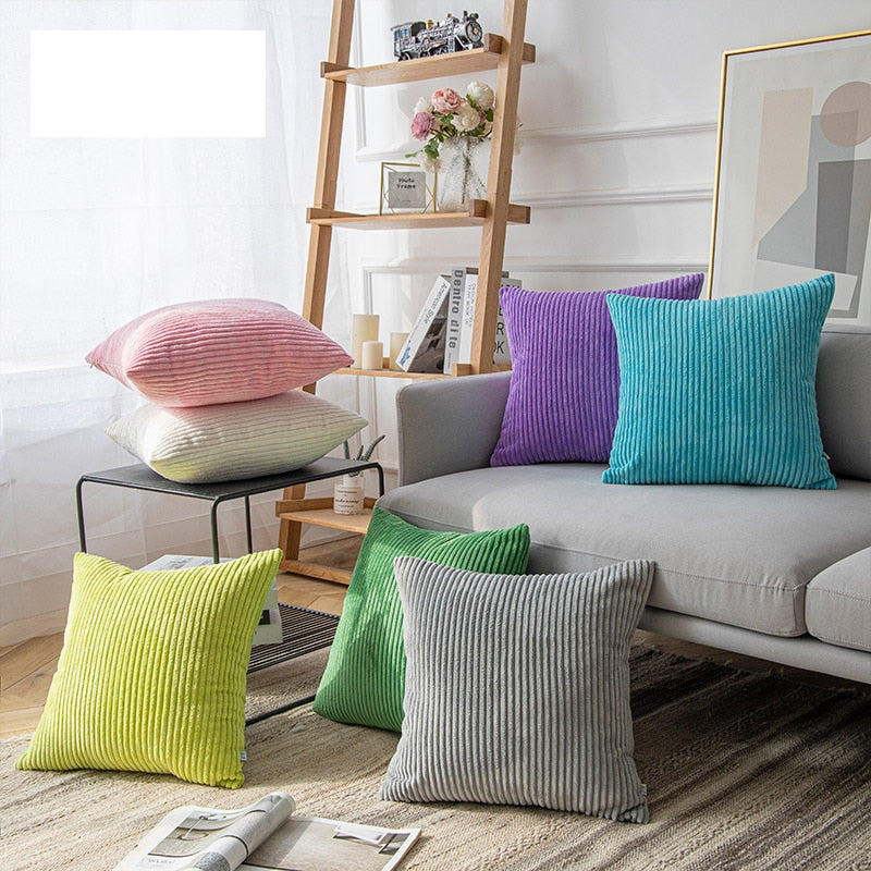 Soft Velvet Corduroy Cushion Case Bright Colors Decorative Pillow Case Chunky Stripes Latest Style Colors Cushion Covers For Living Room Sofa Decor 45x45cm60x60cm