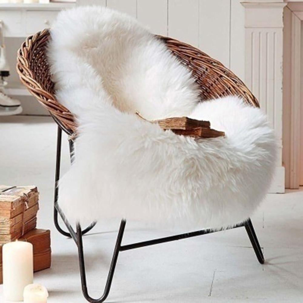 Soft White Artificial Sheepskin Rug For Living Room Thick Pile Shaggy Fluffy Floor Mat For Bedroom Bathroom Faux Fur Carpet Rug Pink White Black Gray Red Natural etc