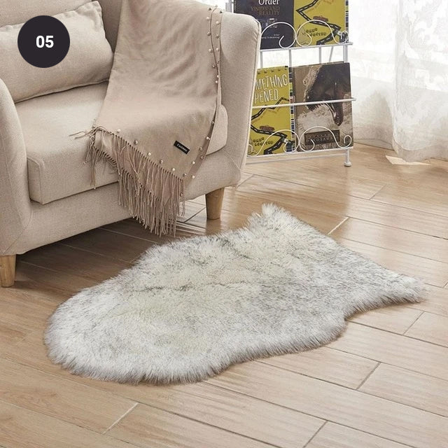 Soft White Artificial Sheepskin Rug For Living Room Thick Pile Shaggy Fluffy Floor Mat For Bedroom Bathroom Faux Fur Carpet Rug Pink White Black Gray Red Choose Your Color
