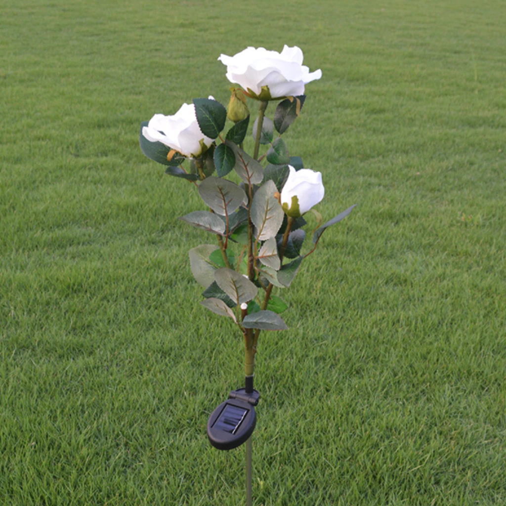 Solar Powered LED Rose Light Outdoor Waterproof Lighting Disguised As A Rose LED Garden Lights For Your Flowerbed
