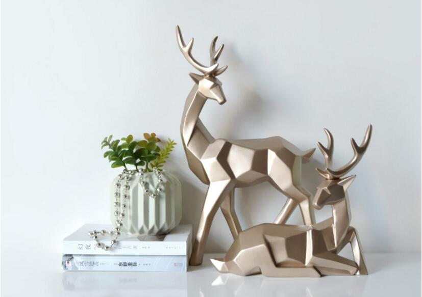 Solid Geometric Nordic Deer Statues Stylish Abstract Ornamental Resin Craft Modern Abstract Decorations For Home Living Room Office Decor