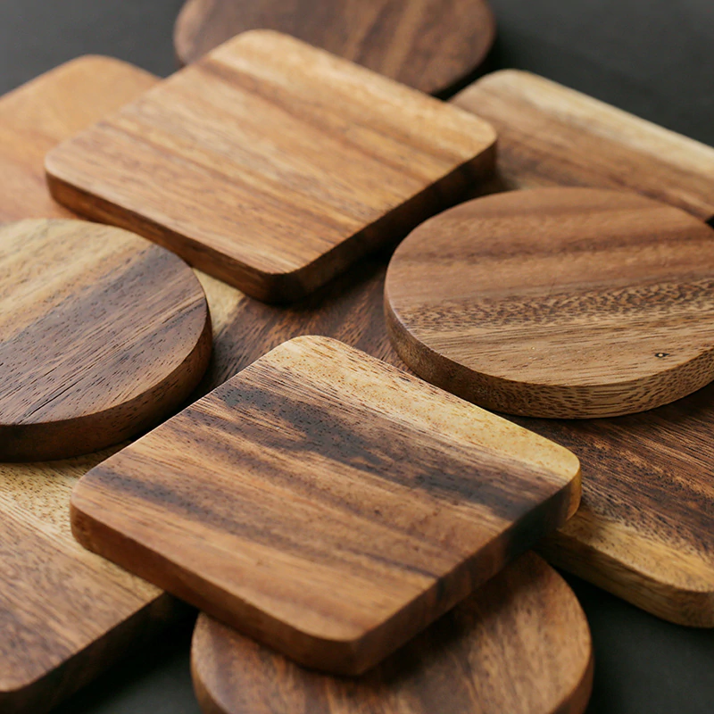 Solid Wood Coaster Natural Square Rounded Real Acacia Wood Drinks Mat For Coffee Mug Kitchen Cafe Tablewear Accessories Wooden Drink Coasters