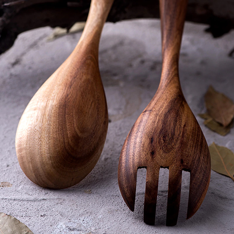 Solid Wood Salad Serving Spoon And Fork Set Natural Wood Kitchen Cooking Utensils For Mixing Serving Salad Wooden Serving Fork Soup Ladle Wooden Tableware 2Pcs
