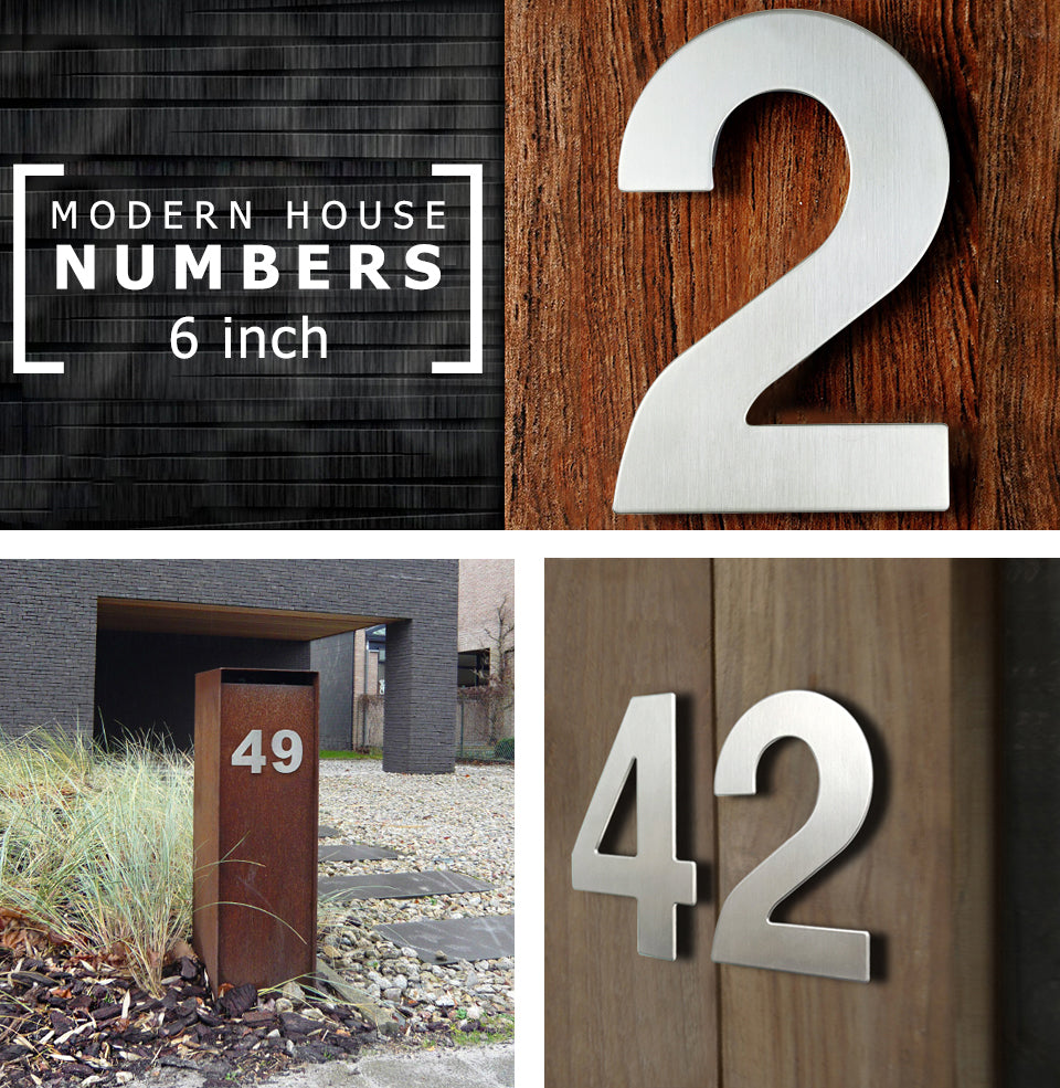 Stainless Steel Executive House Numbers Big 15cm Silver Numbers For Front Door Modern Stylish Home Exterior Signage 6 Inch Digits #0-9 Door Numbers