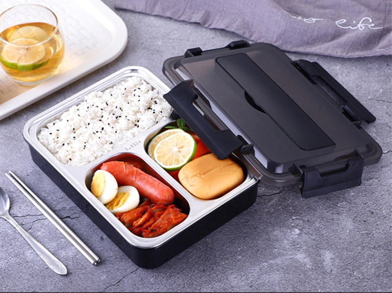 Stainless Steel Leak-Proof Lunch Box Partitioned Meal Container With Spoon Portable Dinnerware Bento Box Lunch Boxes For Travel Picnics