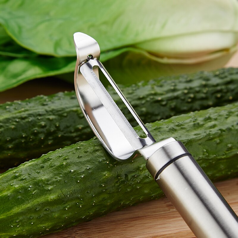 Stainless Steel Potato Peeling Tool For Vegetables Fruit Peeler Sharp Slicer Metal Planing Tool For Creative Food Preparation Handy Kitchen Gadgets