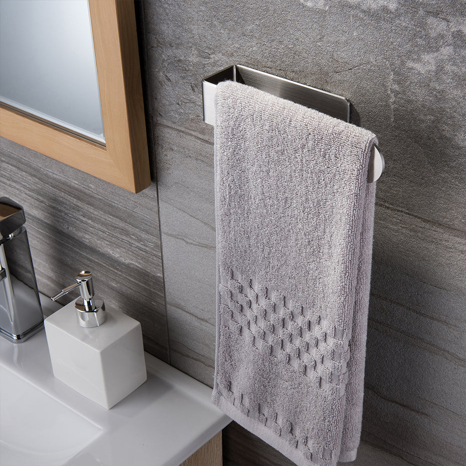 Stainless Steel Towel Rack For Hand Towels Self Adhesive Modern Sturdy Contemporary Design Kitchen Bathroom Fitting For Hanging Towels
