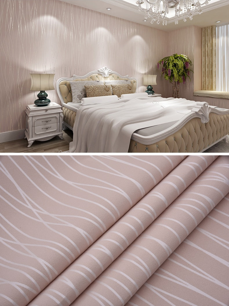 Stripe Textured Solid Color Wallpaper 3D Vertical Stripe Thick Embossed Luxury Wall Covering For Living Room Bedroom Decor Pink or White Wallpaper Vertical Wavy Stripes