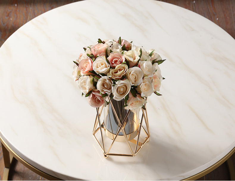 Stylish Geometric Metal And Glass Vase Nordic Style Living Room Decoration Rustic Brass Vases For Flower Arrangement Trending Latest Home Interior Decor