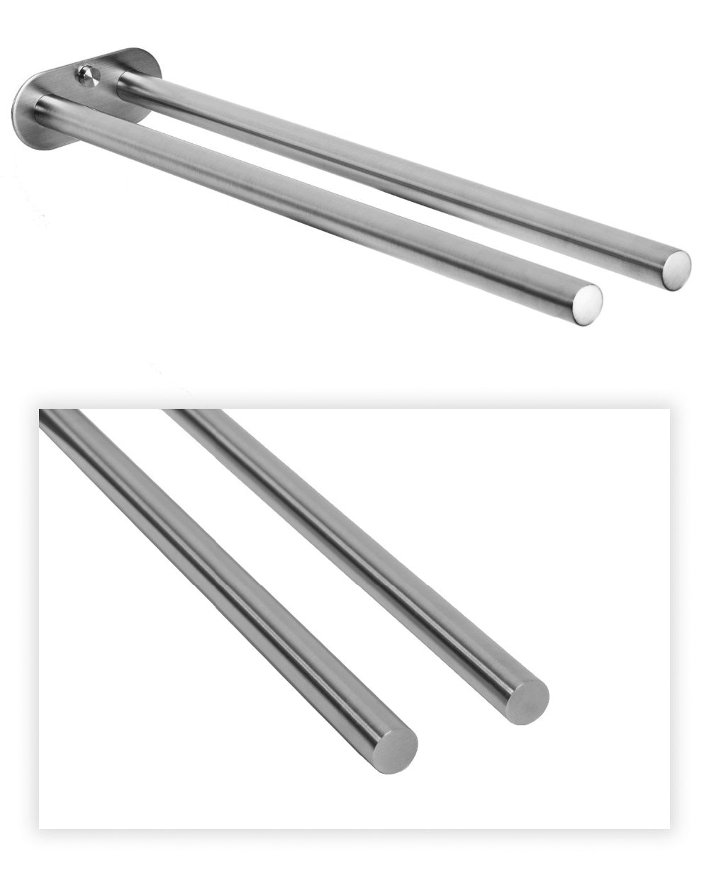 Stylish Twin Rail Bathroom Towel Holder High Grade Brushed Stainless Steel Fixed 40cm Double Rods For Hanging Towels Modern Design Ideal For Washroom Or Kitchen