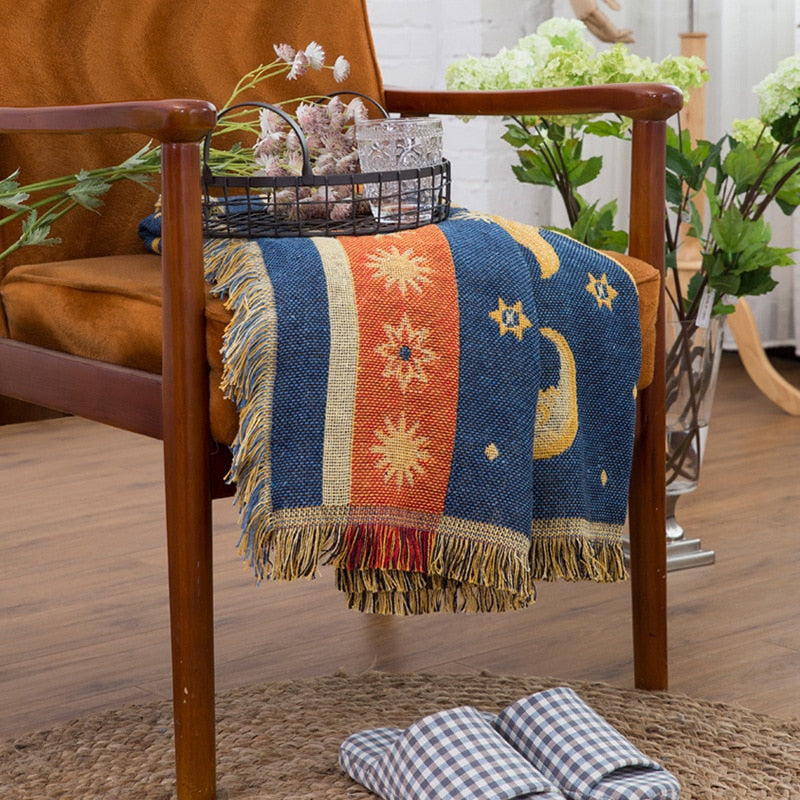 Sun & Moon Sofa Throw Tassel Blanket Versatile Vintage Orange Yellow Blue Jacquard Knitted Plain Dyed Chunky Weighted Bedspread Tablecloth Sofa Blanket