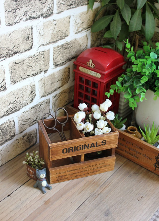Vintage Wooden Storage Box Desktop Organizer Retro Home Decor Flower Pot Box Handmade Sundries Storage Classic Wood Box