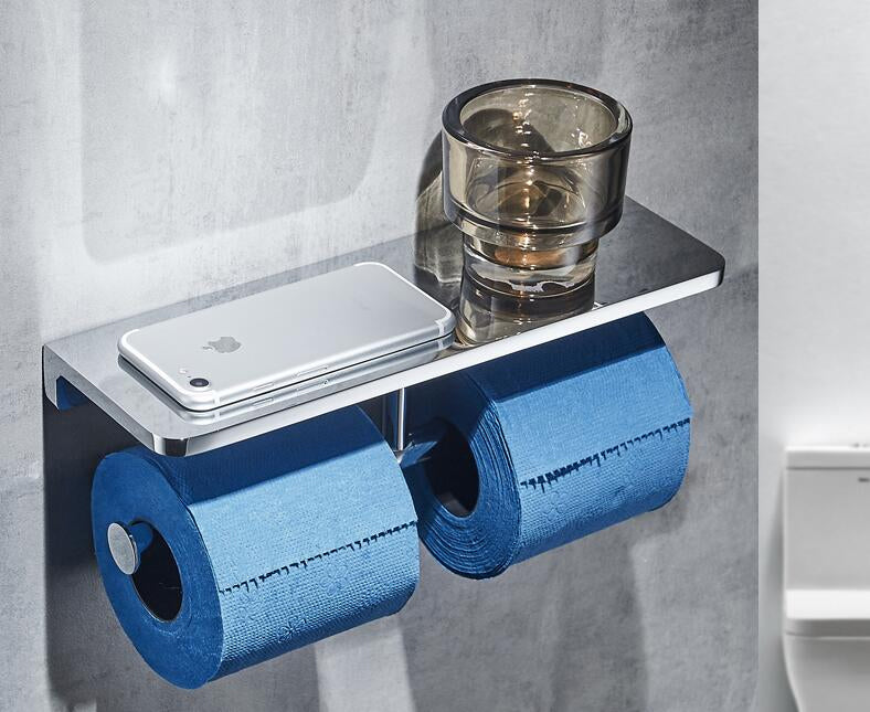 Wall Mounted Luxury Toilet Roll Holder With Handy Phone Shelf High Quality Glossy Silver Electroplated Brass Loo Roll Rack Double or Single With Phone Holder Shelf