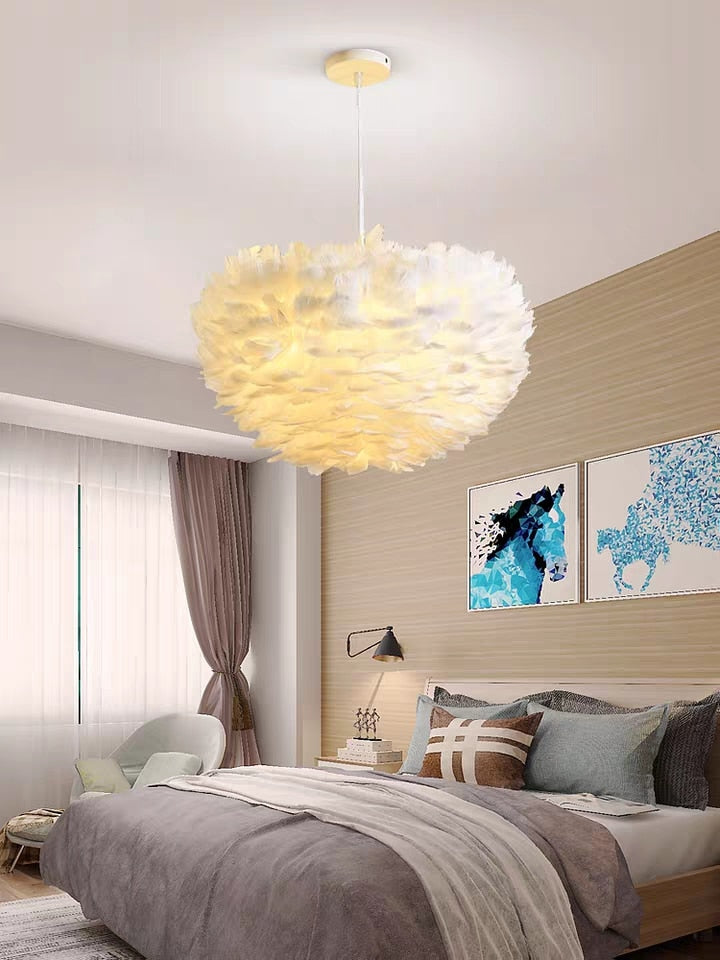 White Feather Lamp For Bedroom Stylish Modern Design Hanging LED Lamp For Kid's Bedroom Baby's Room Fluffy Pendant Light For Stylish Home Decoration