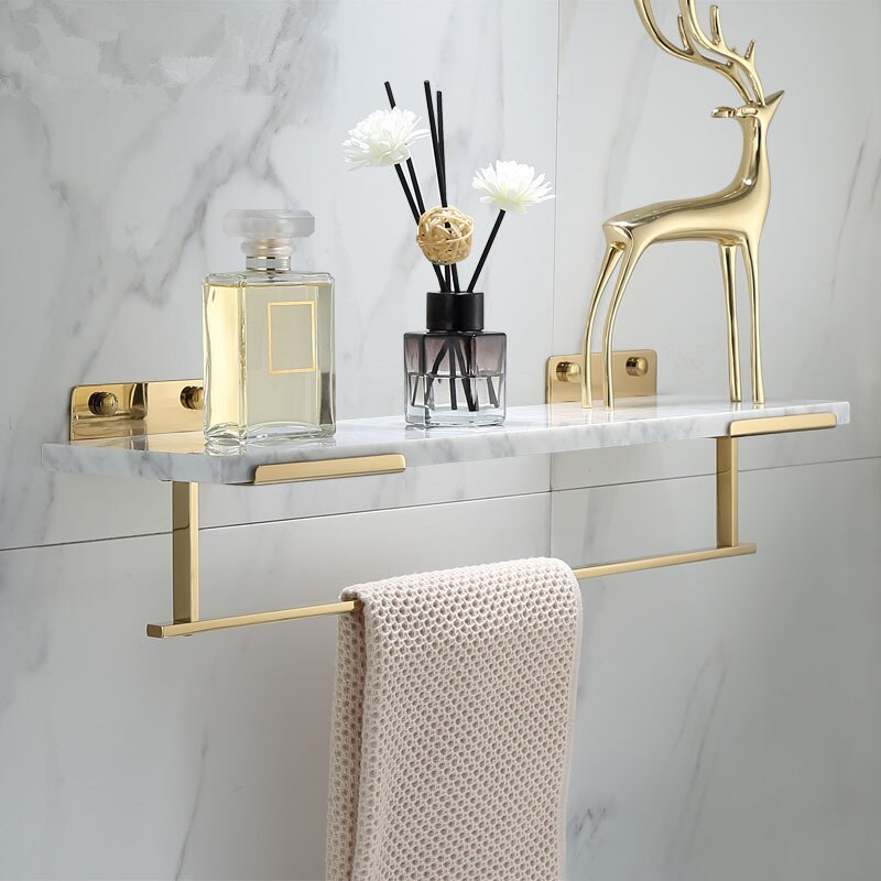 White Marble Bathroom Shelf For Cosmetics Gold Bath Shower Shelving Wall Mounted Elegant Marble Slab Modern Luxury Brass Fittings Bathroom Storage