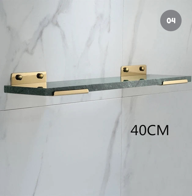 White Marble Bathroom Shelf For Cosmetics Gold Bath Shower Shelving Wall Mounted Elegant Marble Slab Modern Luxury Brass Fittings 07