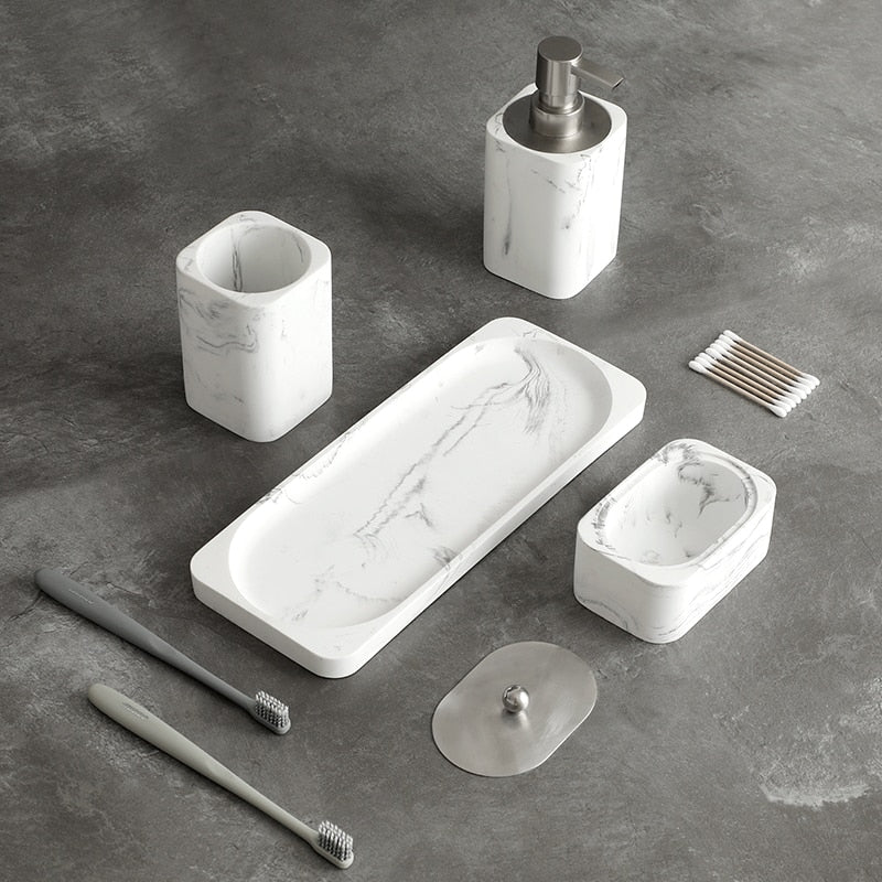 White Marble Design Bathroom Accessories Soap Dispenser Toothbrush Holder Garble Cup Cotton Swab Pot Marble Tray Stylish Essentials For Modern Washroom