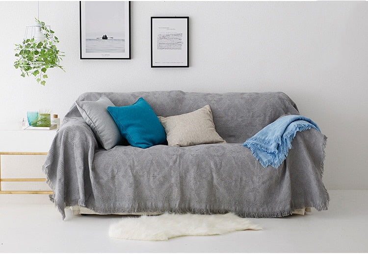 White Sofa Throw Jacquard Blanket Knitted Cotton Bedspread Cover Travel Blanket With Tassels Modern Plain Dyed Solid White Blanket Throw For Sofa