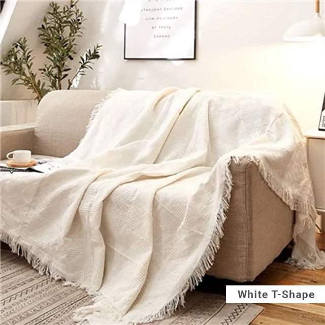 White Sofa Throw Jacquard Knitted Blanket Cotton Bedspread Cover Travel Blanket With Tassels Modern Plain Dyed Solid White Blanket Throw For Sofa