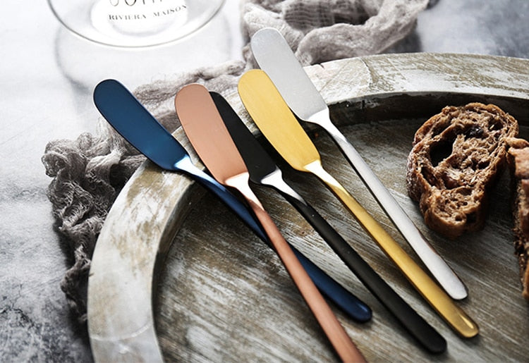 304 Stainless Steel Butter Knife Cheese Dessert Spreaders Cream Gold Black Rose Gold Knifes Western Cutlery Breakfast Tool