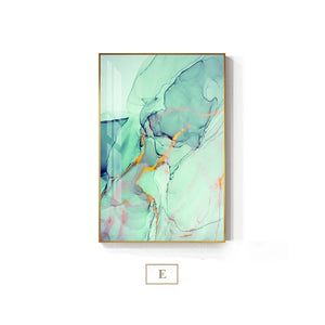 Abstract Fantasy Liquid Marble Print Wall Art Fine Art Canvas Prints Blue Jade Green Contemporary Pictures For Office Or Living Room Decor 7 Colors