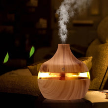Load image into Gallery viewer, Aromatherapy Essential Oil USB Electric Oil Diffuser Ultrasonic Air Humidifier Wood Grain Mini Mist Maker Bedside LED Light