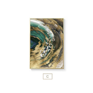 Auspicious Abstract Wall Art Golden Fish Deep Blue Green Sea Fine Art Canvas Prints Luxury Wall Art Pictures for Home Office Decor