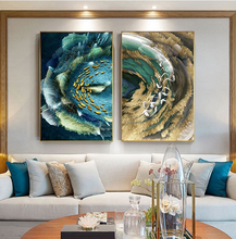 Load image into Gallery viewer, Auspicious Abstract Wall Art Golden Fish Deep Blue Green Sea Fine Art Canvas Prints Luxury Wall Art Pictures for Home Office Decor