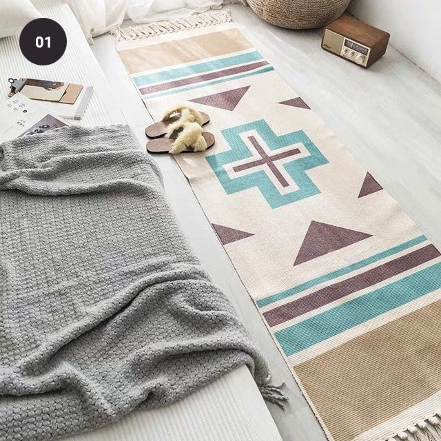 Aztec Design Bohemian Tassel Rug Hand Woven Tapestry Linen Carpet Mat For Bedroom Living Room Decorative Area Rug In Modern Warm Colors 3 Sizes