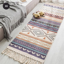 Load image into Gallery viewer, Aztec Design Bohemian Tassel Rug Hand Woven Tapestry Linen Carpet Mat For Bedroom Living Room Decorative Area Rug In Modern Warm Colors 3 Sizes