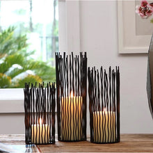 Load image into Gallery viewer, Black Metal Bohemian Candlesticks Moroccan Style Classical Candle Holders For Living Room Dining Room Decor Tealight Holder