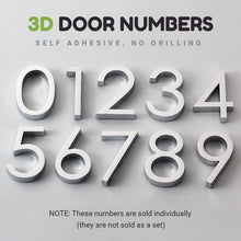 Load image into Gallery viewer, Bright Modern 3D Door Number For Hotel Rooms Residential Home Business Office Signage Self Adhesive Numbers Electroplated Plastic Signage Digits