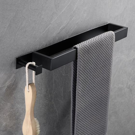 Square Design Stainless Steel Contemporary Bathroom Towel Rack Wall Mounted Requires No Drilling 3 Colors Matte Black Chrome & Brushed Nickel