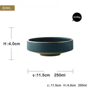 Contemporary Japanese Style Ceramic Dinnerware Gold Inlay Glazed Dish Plate Bowl And Cup Modern Retro High-end Tableware