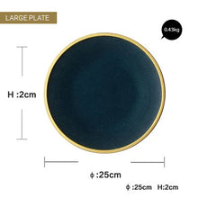 Load image into Gallery viewer, Contemporary Japanese Style Ceramic Dinnerware Gold Inlay Glazed Dish Plate Bowl And Cup Modern Retro High-end Tableware