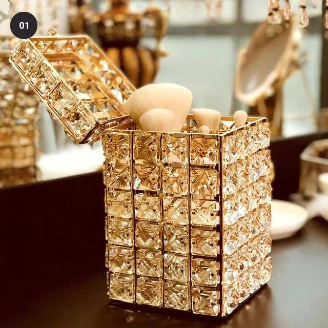 Crystal Bling Makeup Organizer Lipstick Holder Ornamental Dressing Table Jewelry Boxes House Boutique