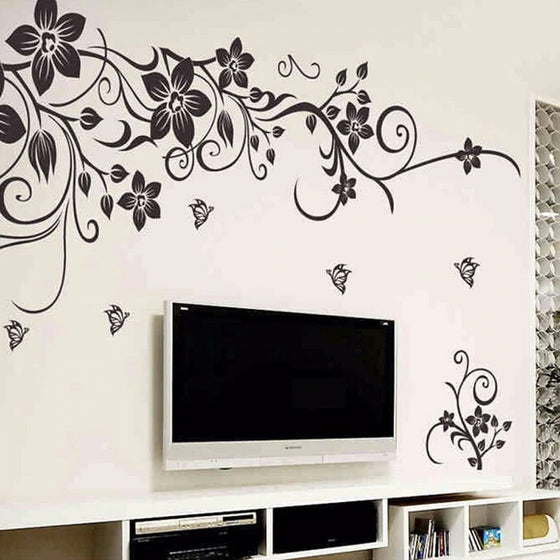 DIY Elegant Floral Fashion Wall Art Decal Modern Wall Decor Removable Wall Sticker For Living Room Bedroom Elegant Home Interior Decor