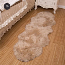 Load image into Gallery viewer, Furry Faux Sheepskin Rug Sumptuous Shaggy Fake Fur Rug For Bedroom Living Room Non-Slip White Black Plush Sheepskin Mat