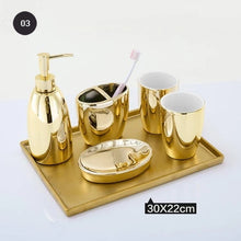 Load image into Gallery viewer, Gold Ceramic Bathroom Accessories Set Liquid Soap Dispenser Toothbrush Pot Mouthwash Cup Soap Dish 5 Piece Set + Gold Tray