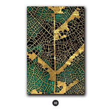 Load image into Gallery viewer, Gold Leaf Woodcut Abstract Wall Art Painting Gold Brown Green Fine Art Canvas Prints Contemporary Pictures For Modern Home Office Interiors