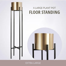 Load image into Gallery viewer, Gold Steel Flower Pot Metallic Gold Metal House Plant Floor Stand With Plant Pots Modern Home Plants Accessories For Living Room Decor