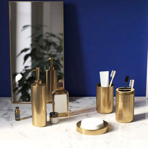 Golden Bronze Stainless Steel Bathroom Accessories Kit Toothbrush Holder Soap Dispenser Smooth Gold Bathroom Set