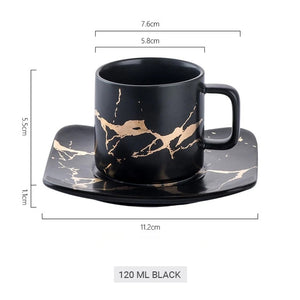 Golden Marble Italian Coffee Mug Ceramic Cup For Morning Coffee Or Afternoon Tea Cup Sets Available In 4 Sizes With Saucer And Lid Stylish Coffeeware