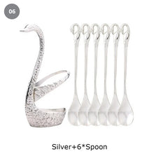 Load image into Gallery viewer, Golden Swan Salad Serving Set Gold Silver Or Bronze Swan Base Holder With 7 Pcs Set Stainless Steel Salad Forks Coffee Dessert Spoons